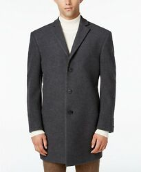 $565 Calvin Klein Mens Extra Slim Fit Gray Overcoat Peacoat Wool Jacket Coat 38R