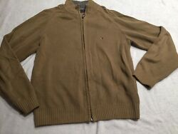 Tommy Hilfiger Brown Thick Knit Full Zip Sweater Size Small Tan Cotton S