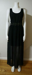 BLACK MAXI DRESS WITH CUT OUTS TIES FOREVER 21 SIZE S $8.37