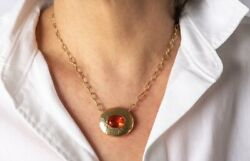 Custom-Made 18kt Yellow Gold and Fire Opal Necklace by Miri Designs