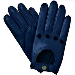 NEW MEN#x27;S CHAUFFEUR REAL LAMBSKIN SHEEP NAPPA LEATHER DRIVING GLOVES NAVY $18.00