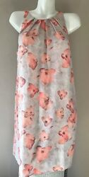 MNG Suit Mango Tunic Spring Floral Flower Peach Pink Sleeveless Summer Dress L $9.00