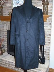 Mens KITON 100% Cashmere Bespoke Dark Charcoal Gray Coat 60