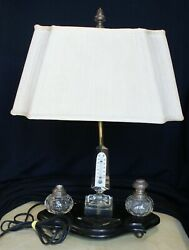 Antique Desk Lamp With Cut Crystal Inkwell Set & Obelisk Thermometer