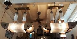 VINTAGE ART DECO BRASS & GLASS ROD CEILING FIXTURE 6 LIGHT SHIP CHANDELIER LAMP