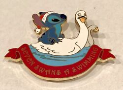 """Disney Auctions 12 Days of Christmas Stitch """"SEVEN SWANS A SWIMMINGquot; LE100 Pin $55.00"""
