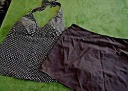 Lands End 2 piece skirted Womens swimsuit size 8 10 Black and white $15.00