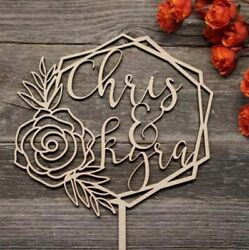 Personalized Name Wooden Modern Wedding Cake Topper Boho Rustic Flower $24.99