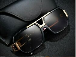 Men#x27;s Sunglasses Designer Black Fashion Gold Metal Bar Gazelle Rectangle Classy