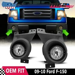 Fits 09-10 Ford F-150 PAIR OE Bumper Replacement Fog Light Lamps Clear DOT $45.57