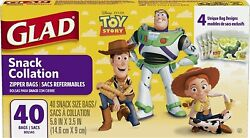 2 Pk. Glad Food Storage Bags Snack Size Zipper Bags Toy Story 40 Count 80... $13.99