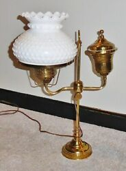 Antique Brass Student Oil Lamp Desk Lamp 1890s Electrified White Hobnail Shade