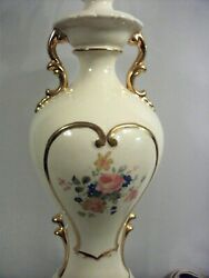 BEAUTIFUL VINTAGE TABLE LAMP PORCELAIN GOLD TRIM FLORAL With Makers Mark $61.95