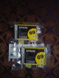 2 Epson 69 Yellow Ink Cartridge T0694 Genuine Sealed New $8.28