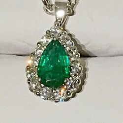 4 CTS EMERALD AND OLD MINE DIAMOND PENDANT PLATINUM
