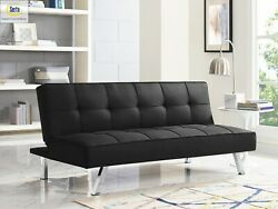 Sleeper Sofa Bed BLack Convertible Couch Modern Living Room Futon Loveseat Chair $178.31