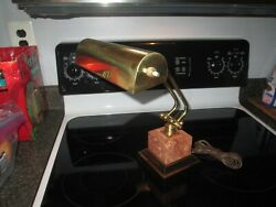 Vintage Brass amp; Marble Piano Bankers Desk Lamp Adjustable Arm Lamp $84.00
