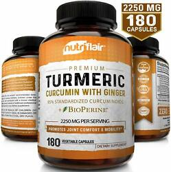 Turmeric Curcumin with Ginger amp; BioPerine Joint Pain 2250 mg Root 180 Capsules $17.99