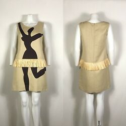 Rare Vtg Moschino Cheap amp; Chic Dancer Print Raffia Dress M $228.00