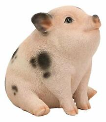 Ebros Napoleon Fat Piglet Pig Statue 6quot; Long with Glass Eyes Piggy Figurine $26.99