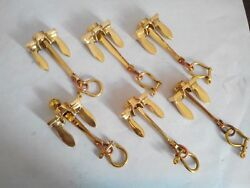 Set of 6 Anchor Brass Key chains Nautical key chain handcuff Vintage Style Gift $36.00