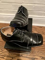 Men's Salvatori Black White Dress Shoes Size 9 1 2 Original Box 9.5 EUC