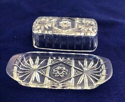Anchor Hocking Butter Dish Star of David Pressed Glass Covered Every day use $20.00