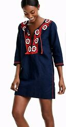 NEW J.CREW Embroidered Beach Tunic Top Women#x27;s S V Neck Tassels Blue $41.00