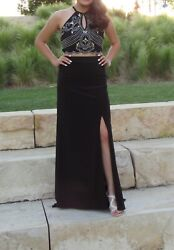 black sparkly two piece halter long prom dress with leg slit