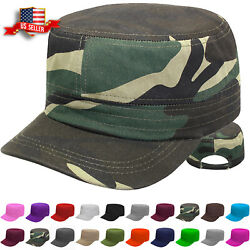 Cadet Hat Castro Style Army Caps Mens and Womens Baseball Cap Adjustable Size $8.94