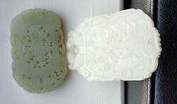 Chinese white and Celadon Jade Carved Pendant Plaque nephrite Hetian marked