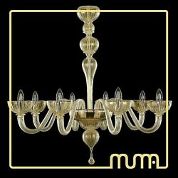 Chandelier Glass Murano Leaf Gold 24Kt Large Size Also Customizable