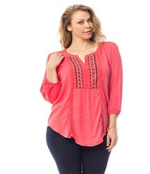 Coral Embroidered Panel Tunic Plus Size Top 2X 3X Boho $11.99