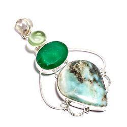 Best Store !! Green Amazonite Dyed Emerald Silver Plated Handmade Pendant 2.5 $14.99