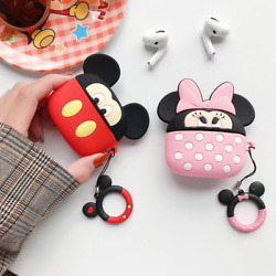 Cute For Apple Airpods Pro 2 1 Cartoon Mouse Silicone Soft Case With Ring Strap $8.99