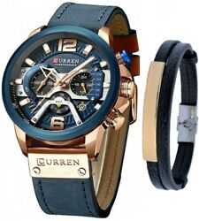 CURREN Watch Men#x27;s Chronograph Watches And Fashion Bracelet Set Reloj de Hombre $29.99