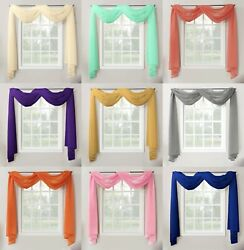 1 Piece Sheer Voile Window Home Decor Fully Hemmed Scarf Valance Swag Topper $9.50