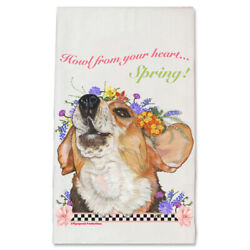 Beagle Dog with Flowers Kitchen Dish Towel Pet Gift $17.95