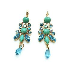 Mariana Earrings Turquoise amp; chandelier Swarovski Crystal Bliss Nirvana Coll. $122.00