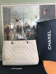 ❤CHANEL GST ❤Light Beige Quilted Caviar Leather❤Grand Shopping Tote Dust Bag Box