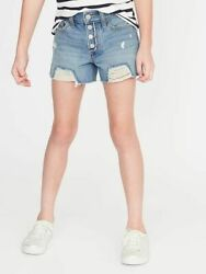 Old Navy Girls High Waisted Button Fly Distressed Jean Cut Off Shorts:NWT $25 $7.99