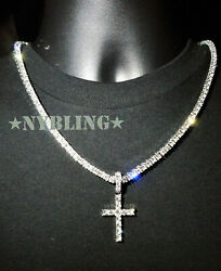 14k Gold Silver IP Tennis Chain Cross Pendant Choker Lab Diamond ICED Necklace $17.99