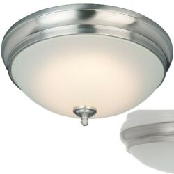 Commercial Electric Brushed Nickel 13 in LED Light Flushmount Ceiling Fixture
