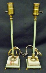 Pair of Vintage Long Green Spindle Marble Base 14quot; Boudoir Lamps; 1930#x27;s $69.99