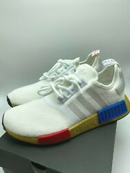 *NEW* Men ADIDAS Originals NMD R1 Cloud White Red Blue FV3642 Sz 8.0 13.0 $119.42