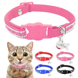 Breakaway Pet Cat Personalized Collars Bling Rhinestone Necklace ID Tag Engraved $8.99