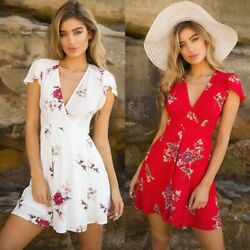 Women Summer Boho Beach Floral Sundress Floral Print Sexy Tight Lady  Mini Dress