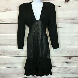 Vtg.Michael Hoban for North Beach Black Leather Long Sleeve Ruffled Dress