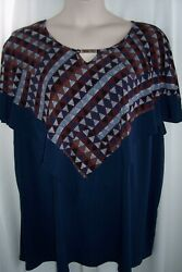 Catherines Plus 5X 34 36W Blue Mosaic Layered Poncho Top Tunic NWT $17.99