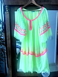 Dress ❃ Fleur de Pirate Embroidered Hippie Boho Coachella beach tassels Yellow